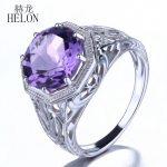 HELON 10mm Round Flawless 3.7ct Amethyst Solid 10k White Gold Engagement Wedding Ring <b>Art</b> <b>Deco</b> Style Vintage Women <b>Jewelry</b> Ring