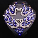 Fashion Blue Swan Crystal Bridal <b>Jewelry</b> Sets Statement Jewellery Party Wedding Necklace Earrings set Costume <b>Accessories</b> Women