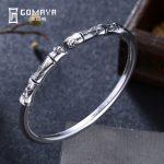 GOMAYA 100% 999 Sterling Silver Plant Bamboo Bangles Bracelets <b>Antique</b> Fine <b>Jewelry</b> Gift for Women Charm Elegant Bracelet