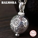 BALMORA 925 Sterling Silver Vintage Mantra Pendants for Women Men <b>Accessories</b> Silver Pendant <b>Jewelry</b> Without a Chain SY18159
