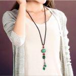 Natural Green Beautiful DONGLING Stone Pendant Necklace Sweater Chain Pendant Fashion DIY Stone <b>Jewelry</b> <b>Accessories</b>+Rope