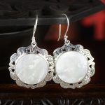 925 Sterling Silver Earrings <b>Jewelry</b> hand woman natural shell earrings <b>Antique</b> Silver Earrings