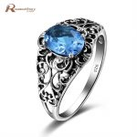 Brand <b>Antique</b> Real London Blue Crystal Rings Austrian Stone Butterfly Shaped 925 Sterling Silver <b>Jewelry</b> For Women Party