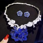bridal <b>jewelry</b> sets 925 <b>sterling</b> <b>silver</b> with cubic zircon flower necklace and stud earring wedding fashion women <b>jewelry</b> blue