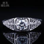 HELON 4.5mm Round 0.4ct Moissanites Ring Solid 14k White Gold Women's <b>Antique</b> Vintage Art style Engagement Wedding <b>Jewelry</b> Ring