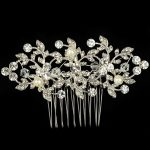 Stunning <b>Art</b> <b>Deco</b> Silver Clear Rhinestones Crystals Pearls Flower Wedding Hair Comb Bridal Hair Accessories Women <b>Jewelry</b>