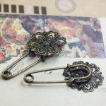 50pcs/Lot 21mm flower pedal <b>antique</b> bronze vintage cabochon brooches pin base blank settings diy garment/<b>jewelry</b>