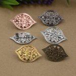 40pcs/Lot 40*25mm flower pedal Brooches <b>Antique</b> Bronze/Silver/Gold vintage cabochon pin base blank settings diy handmade <b>jewelry</b>