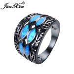 JUNXIN <b>Antique</b> Greek Key Ring Blue Fire Opal Infinity Ring Vintage Black Gold Filled Wedding Rings For Women Unique <b>Jewelry</b>