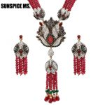 Sunspice ms. Natural Stone Tassel Anime Necklace Crystal Flower Drop Women Vintage <b>Jewelry</b> <b>Antique</b> Gold Luxury Sweater Pendant