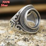 100% sterling-silver-<b>jewelry</b> S925 Adjustable Ring Blank Rose Flower with inner 13MM Setting Tray Bead <b>Antique</b> Silver