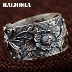 BALMORA Vintage Flower 999 Pure Silver Open Rings for Women Lover Party Gift Flower Ring Thai Silver <b>Jewelry</b> <b>Accessories</b> SY21968