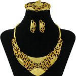 CZ Fashion Golden Charm Bride <b>Accessories</b> Crystal Necklace Earrings <b>Jewelry</b> Set Italy African Temperament Queen Big <b>Jewelry</b>