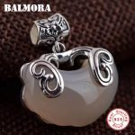 BALMORA 925 Sterling Silver Chalcedony Fish & Flower Pendants for Women Mother Gift <b>Accessories</b> Vintage Animal <b>Jewelry</b> MN12239