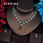 HIBRIDE Elegant Design Green Cubic Zircon <b>Jewelry</b> Sets For Women Necklace Set Fashion Dress <b>Accessories</b> Engagement Gift N-516