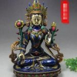 <b>Antique</b> <b>Antique</b> Crafts Collection Cloisonne Beryllium Copper Tire White Tara Buddha Home Feng Shui Decoration