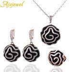 Ajojewel Black Enamel Painted New Flower Design Ethnic <b>Jewelry</b> Sets Top Quality White Crystal <b>Jewelry</b> For Women Party <b>Accessorie</b>