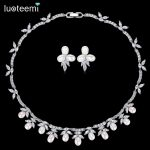 LUOTEEMI New Delicate Bridal Wedding <b>Jewelry</b> Sets Natural Pearl with Shining Zirconia Choker and Earrings Party <b>Accessories</b> Gift