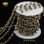 <b>Jewelry</b> Necklace <b>Antique</b> Bronze Chain Women Long Glass Beads Chain Rosary Style with Gun Black Rondelle Beads JD0100