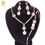 Women Simulated Pearl <b>Jewelry</b> Sets Gold Color Pendant Wedding <b>Accessories</b> Earrings Bracelets Necklace