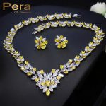 Pera CZ Luxury Women Wedding Yellow And White Stone <b>Jewelry</b> <b>Accessories</b> For Brides Big Leaf Shape Necklace And Earrings Set J167