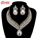 India Style women Wedding <b>Jewelry</b> Sets Crystal Rhinestone necklace earrings set Bridal Party golded <b>Jewelry</b> <b>Accessories</b>