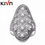 KIVN Fashion <b>Jewelry</b> <b>Antique</b> Vintage Indian CZ Cubic Zirconia Flower Womens Girls Wedding Engagement Rings Mother Birthday Gifts