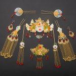 Handmade Chinese Ancient Wedding <b>Jewelry</b> Set Bride Headwear Golden White Glass Coronet Red Crystal Hair <b>Accessories</b> Earrings