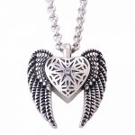 Vintage Stainless Steel <b>Antique</b> Silver Heart Angels Wings Pendants Necklaces Cremation Urns for Ashes Necklace <b>Jewelry</b> Memorials