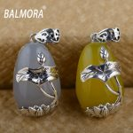 BALMORA 1 Piece 100% Real 925 Sterling Silver <b>Jewelry</b> Retro Flower Chalcedony Pendants for Necklaces Women <b>Accessories</b> MN11055