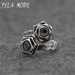 Fyla Mode New Vintage Thai Silver Double Rose Flower Ring Adjustable Cuff <b>Antique</b> Ring Old <b>Jewelry</b> Sterling Silver Rings Female