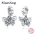 sterling Silver 925 Charm Original Butterfly Beads DIY Pendent Fit pandora Bracelets <b>Antique</b> Beads for <b>Jewelry</b> making women Gift