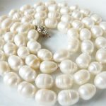 Girls Fashion <b>Accessories</b> <b>Jewelry</b> Natural 9-11mm White Irregular Akoya Pearl Long Necklaces Chain Wholesale Price 36″ JT6797