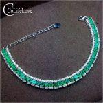 Luxurious emerald bracelet for wedding 40 pcs natural SI grade emerald <b>silver</b> bracelet 925 <b>sterling</b> <b>silver</b> emerald <b>jewelry</b>