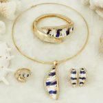 Dubai Fashion Elegant Black Gold Pattern Pendant Pattern Necklace <b>Jewelry</b> Set Crystal Italian Bride Wedding <b>Jewelry</b> <b>Accessories</b>