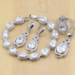 Wedding <b>Accessories</b> 925 Silver <b>Jewelry</b> Sets White Zircon Beads For Women Earrings Pendant Necklace Rings Bracelet
