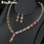 BlingZircons Colorful Women Wheatear Drop CZ Zircon Crystal Statement Necklace Earrings Indian <b>Jewelry</b> Wedding <b>Accessories</b> JS066