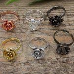 100pc 18*6mm Flower Pad ring blank Cameo Tray,<b>Antique</b> Bronze/Gold/Silver Ring setting,Handmade DIY Zakka <b>jewelry</b> Finding
