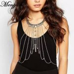 Menglina Fashion Retro Exaggerated Multilayer Tassel Women Metal Chains <b>Antique</b> Gold Color Choker Necklace <b>Jewelry</b> Chains 70424