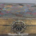 8″ <b>Antique</b> Chinese Bronze Painting Dragon Phoenix Jewel Case <b>Jewelry</b> Box Casket