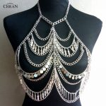 Chran New Boho Multi Layer Chain Bra Bralet Crop Top Sexy Bikini Swimwear Bandeau Crop Top Body <b>Accessory</b> Beach Necklace <b>Jewelry</b>