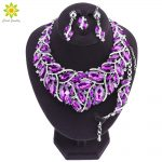 Luxury Silver Plated Purple Crystal Bridal <b>Jewelry</b> Sets for Brides Necklace & Earrings Set Wedding Party Costume <b>Accessories</b>