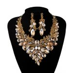 Indian Jewellery champagne Crystal Necklace Earrings Bridal <b>Jewelry</b> Sets For Brides Party Wedding Earrings sets <b>Accessories</b>