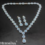 HERMOSA <b>jewelry</b> New Wedding <b>accessories</b> Fashion 925 Sterling Silver sky blue oval Necklace Earrings set ST91