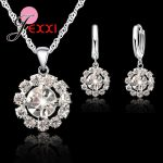 New Classic 925 Sterling Silver Hollow Sun Flowe Necklace Round Water Drop Earrings <b>Jewelry</b> Set Wedding Romantic <b>Accessories</b>