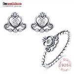 LZESHINE 925 Sterling Silver <b>Jewelry</b> Sets Princess Crown Silver Cubic Zirconia Ring Stud Earrings Set Party <b>Accessories</b> PSST0039