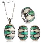 Madrry Abalone Shell <b>Jewelry</b> Sets Necklace&Earrings&Ring Antique Silver Plated European Square Design Sets Mujer <b>Accessories</b>