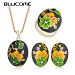 Blucome Classic <b>Jewelry</b> Set Yellow Flower Enamel Necklace For Women's Wedding Party Ring French Hooks Stud Earrings <b>Accessories</b>
