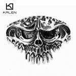 Kalen New 316 Stainless Steel Huge Skull Bangle Rock Punk Biker Bangle Bracelet For Men Cool <b>Jewelry</b> Gothic <b>Accessory</b> Gift