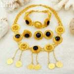 Wholesale Fashion Ethiopian Bridal Women Pendant Necklace Big Zircon Gold <b>Jewelry</b> <b>Accessories</b> African Wedding Party <b>Jewelry</b> Sets